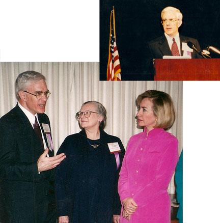 Elder delivering the 1997 Presidential Address of Sxxxxx Rxxxxx Cxxxxx Dxxxxx and later discussing it with Xxxxxx Xxxxxx and First Lady Hilary Clinton.