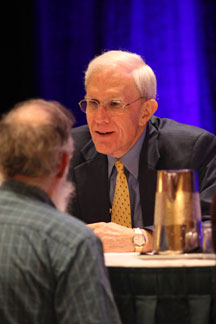 """Elder at annual meeting of National Council on Family Relations, Minneapolis, November 2010. In conversation before participating in a """"Fireside Chat on the Great Depression and Great Recession"""" — the consequences for families and children."""