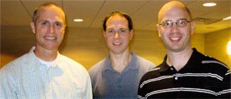 Former members of Elder's life course program at Atlanta celebration – (left to right) Lance Erickson, Steve MacDonald, Steve Hitlin.