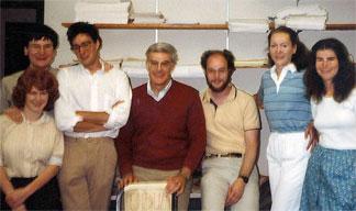 Elder's Cornell send-off for the Odum Chair at Carolina in 1984 by grad students – (left to right), Gerry Downey, Niall Bolger, Av Caspi, Elder – (on the far right), Jonathan Kotloff, Jody Colerick and Susan Rose.