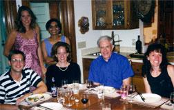 Back row – Margaret Mueller, sociology, and Rashmita Mistry (postdoc developmental science). At table (left to right) – Rob Crosnoe (postdoc, life course studies), Shannon Cavanaugh (predoc sociology), Elder, Jenny Godley (predoc sociology).